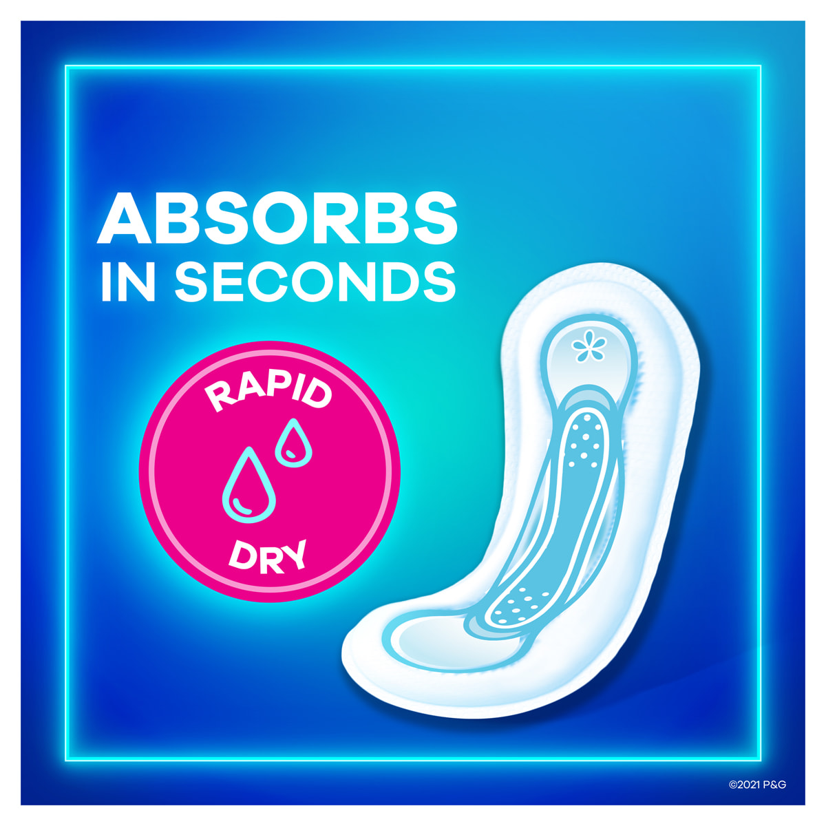 Always Maxi Pads without Wings Absorbs in Seconds