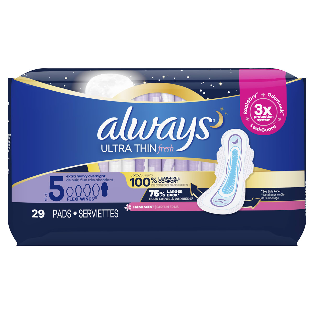 Ultra Thin Pads Unscented Extra Heavy Overnight with Wings Scented