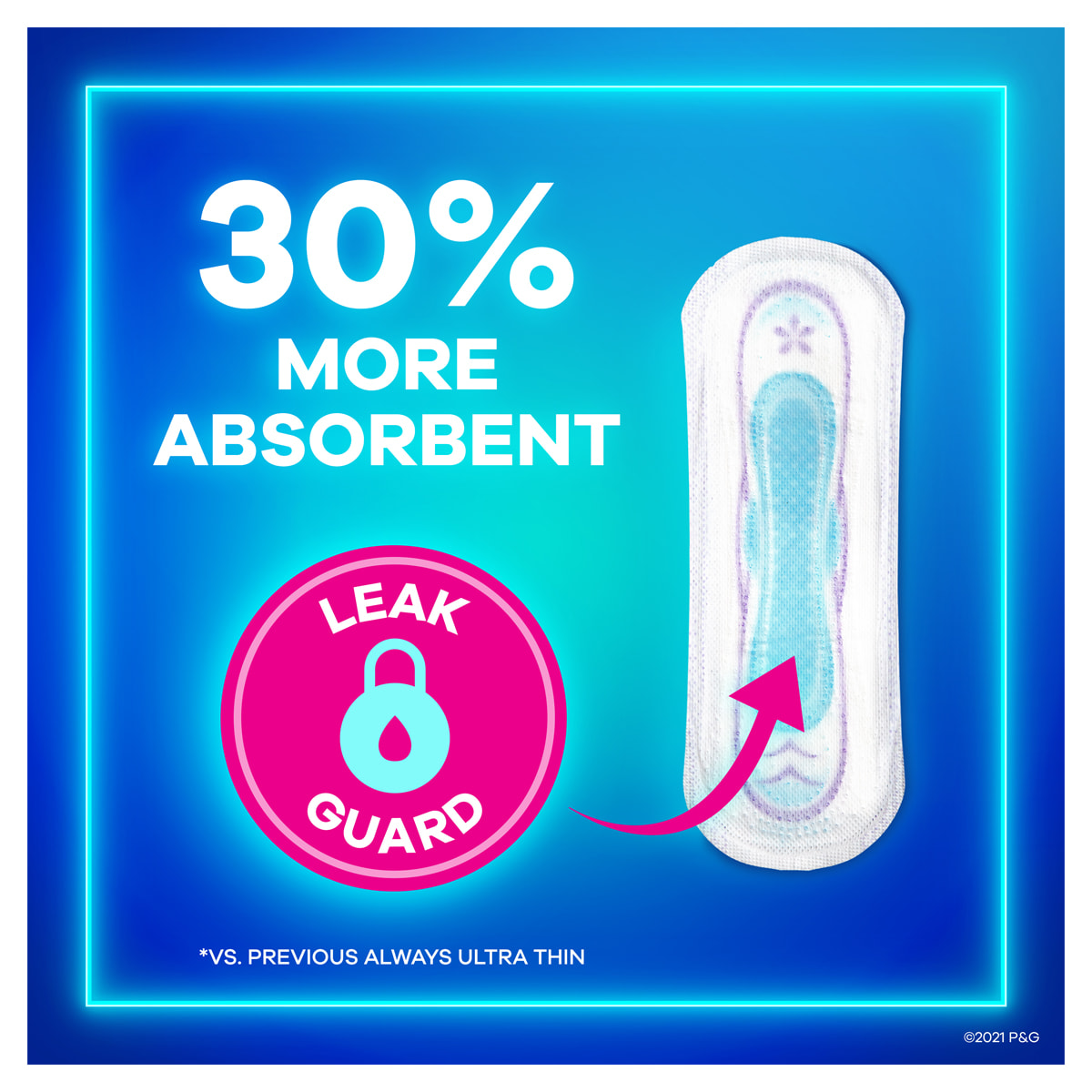 Always Ultra without Wings 30 Percent More Absorbent
