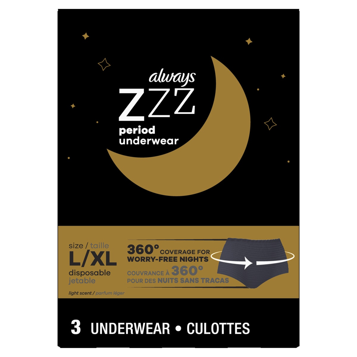 Always ZZZ Overnight Disposable Period Underwear for Women Size L 360 Coverage
