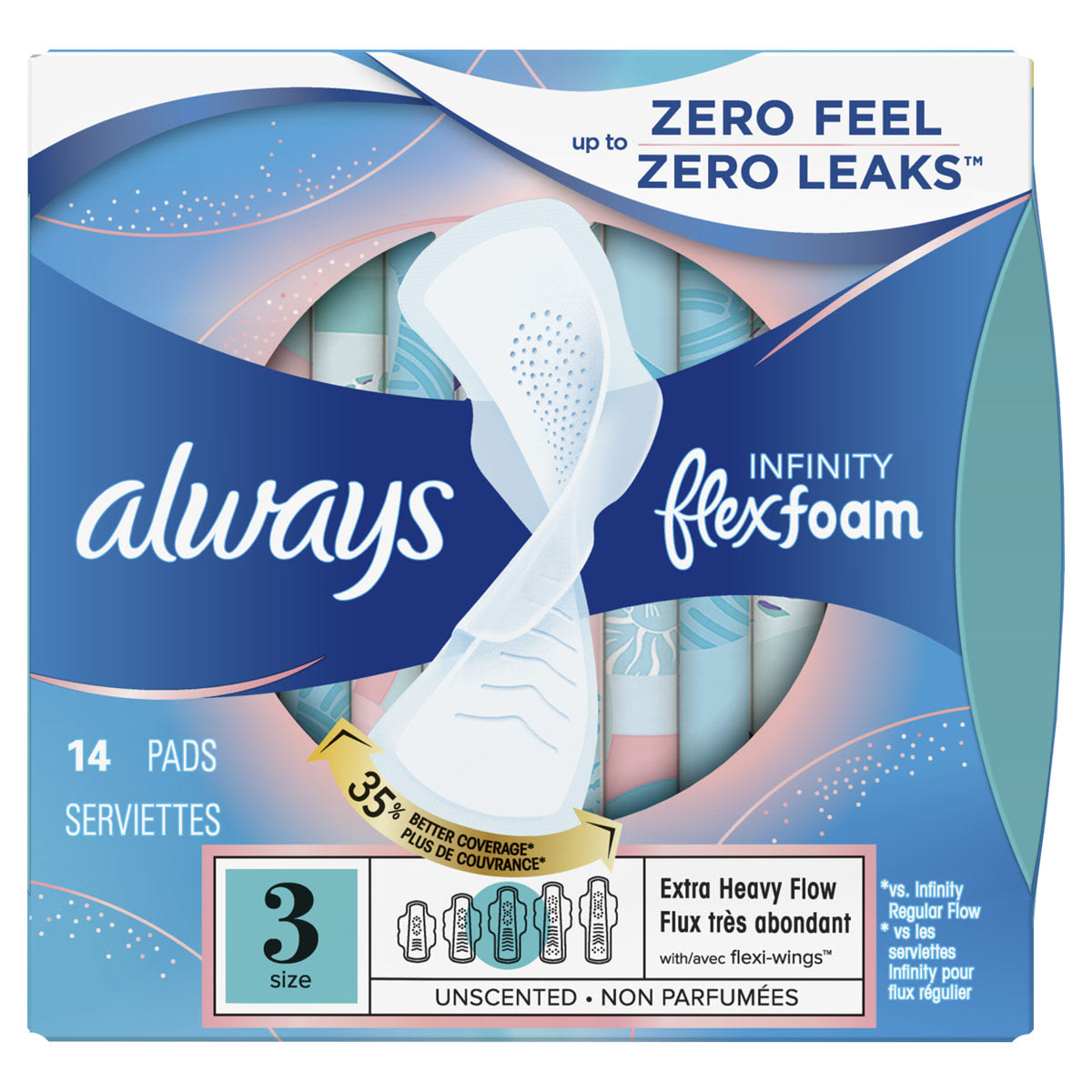 Always Infinity Size 3 Extra Heavy Flow Pads with Wings, Unscented