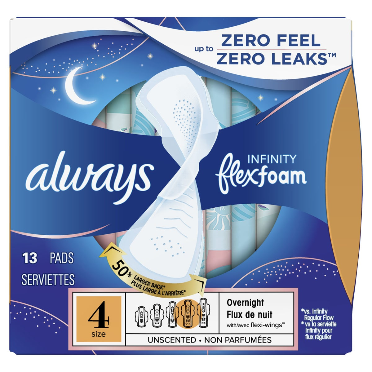 Always Infinity Size 4 Overnight Pads with Wings, Unscented