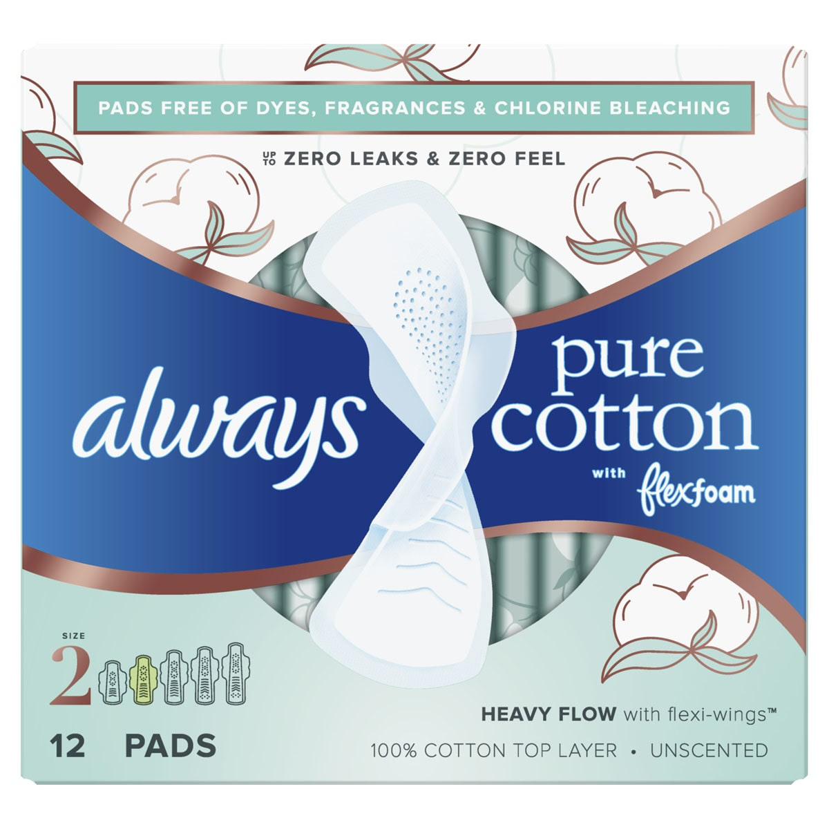 Always Pure Cotton with FlexFoam Size 2 Heavy Flow Pads with wings, Unscented