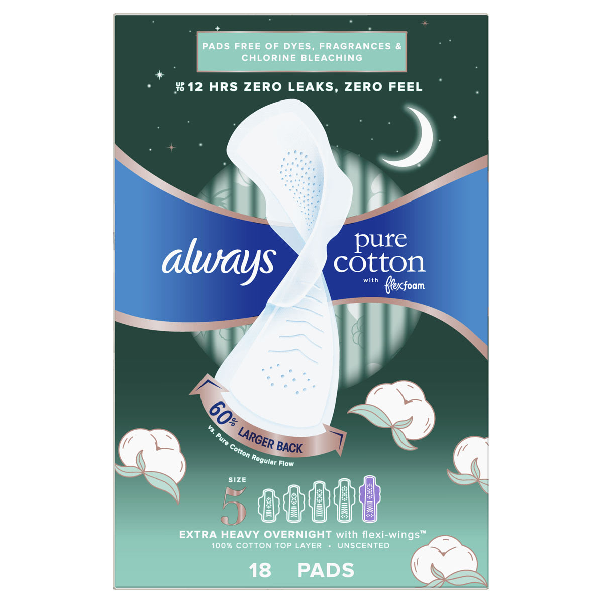 Always Pure Cotton with FlexFoam Overnight  Size 5 Extra Heavy Flow Pads with Wings