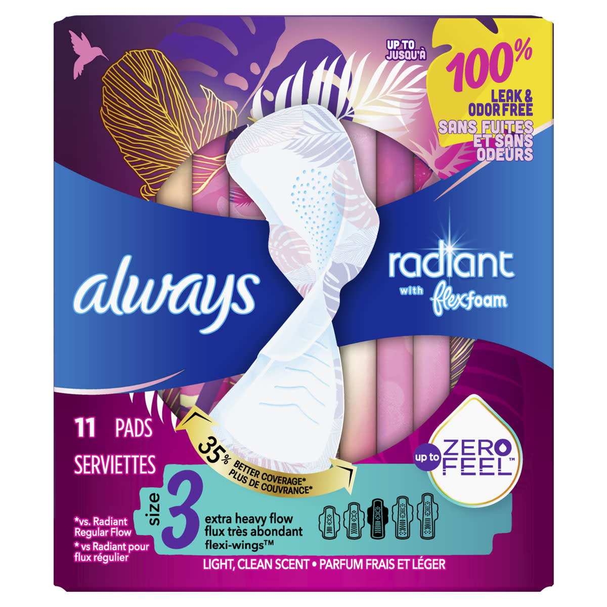 Always Radiant Size 3 Extra Heavy Flow Pads, Light Clean Scent