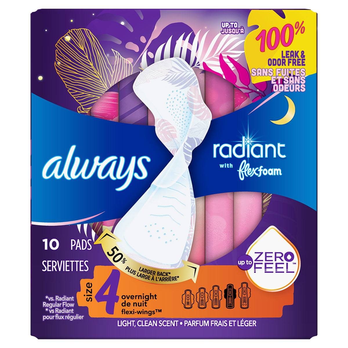 Always Radiant Pads Size 4 Overnight Pads, Light Clean Scent