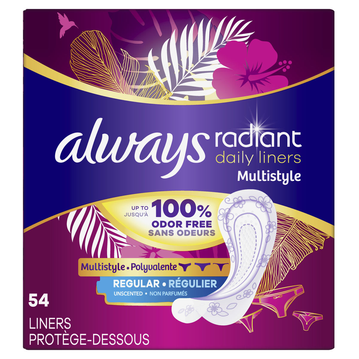 Always Radiant Daily Multistyle Liners Regular, Unscented