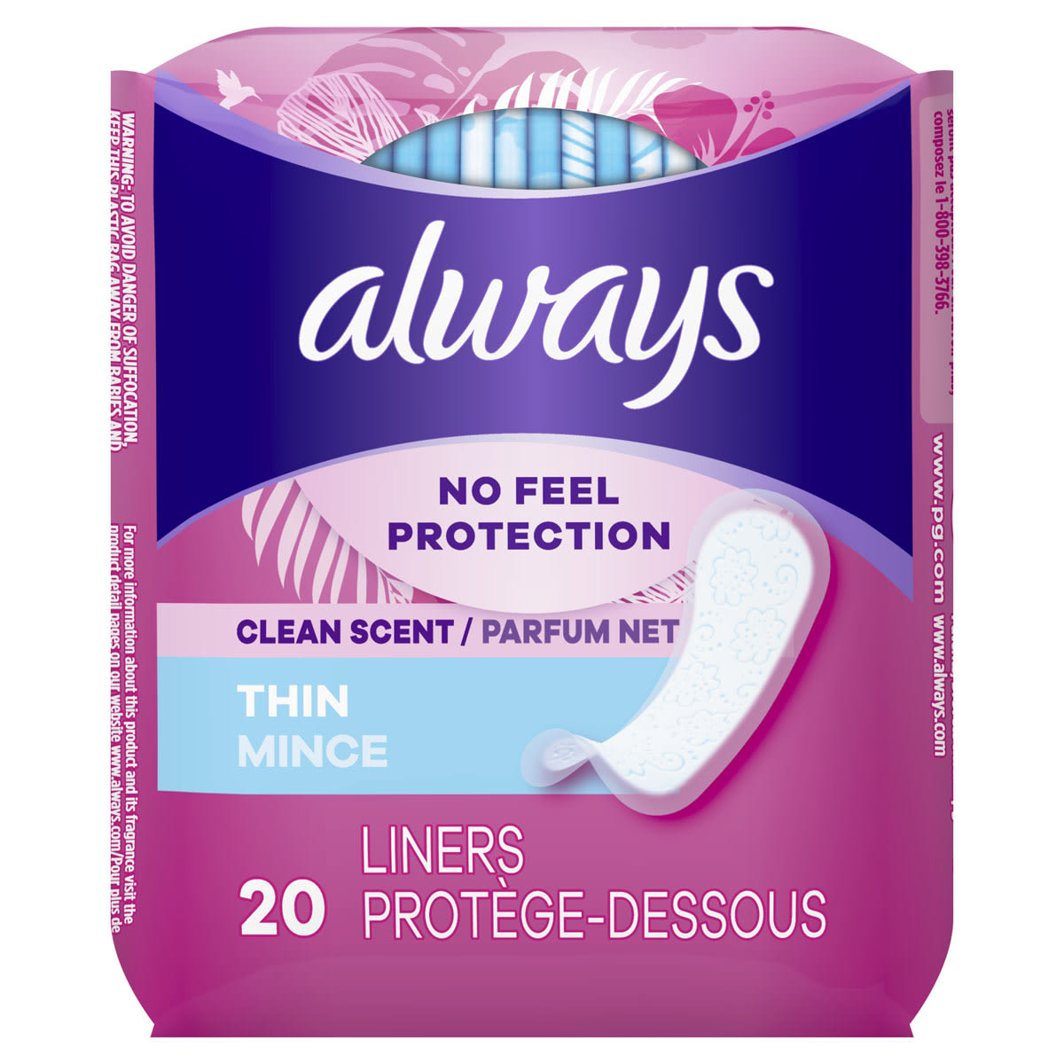Always Thin Daily Liners, Clean Scent, Wrapped