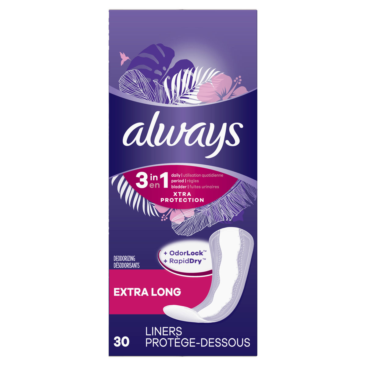 Always Xtra Protection 3in1 Daily Liners Extra Long with LeakGuards, Wrapped