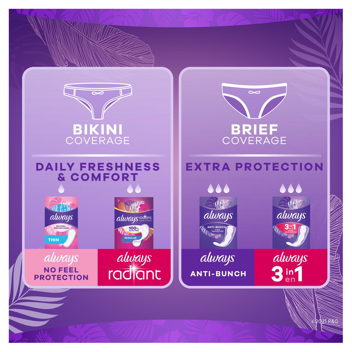 Always Daily Liners Venus XtraProtection 3in1 Coverage