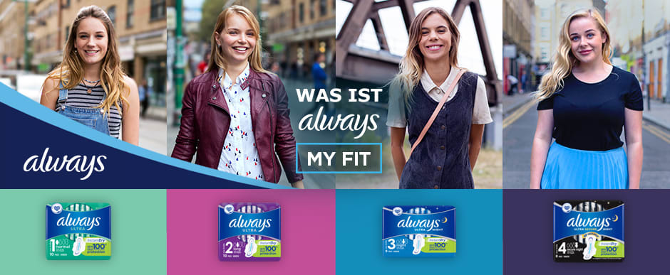 ALWAYS Ultra My Fit Banner Landing
