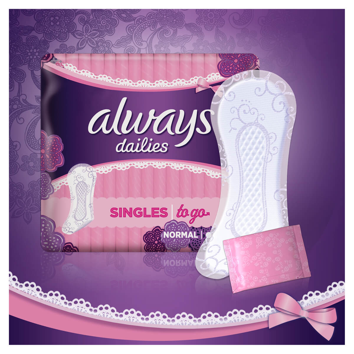 ALWAYS DAILIES Singles To Go Normal Pantyliners