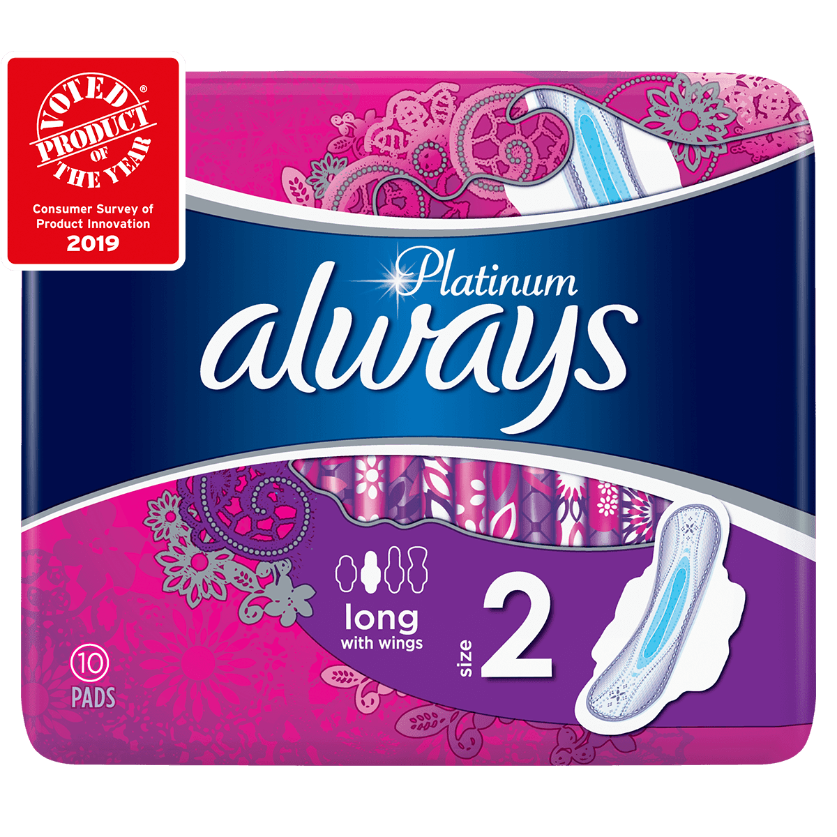 ALWAYS Platinum Long Size 2 Sanitary Towels