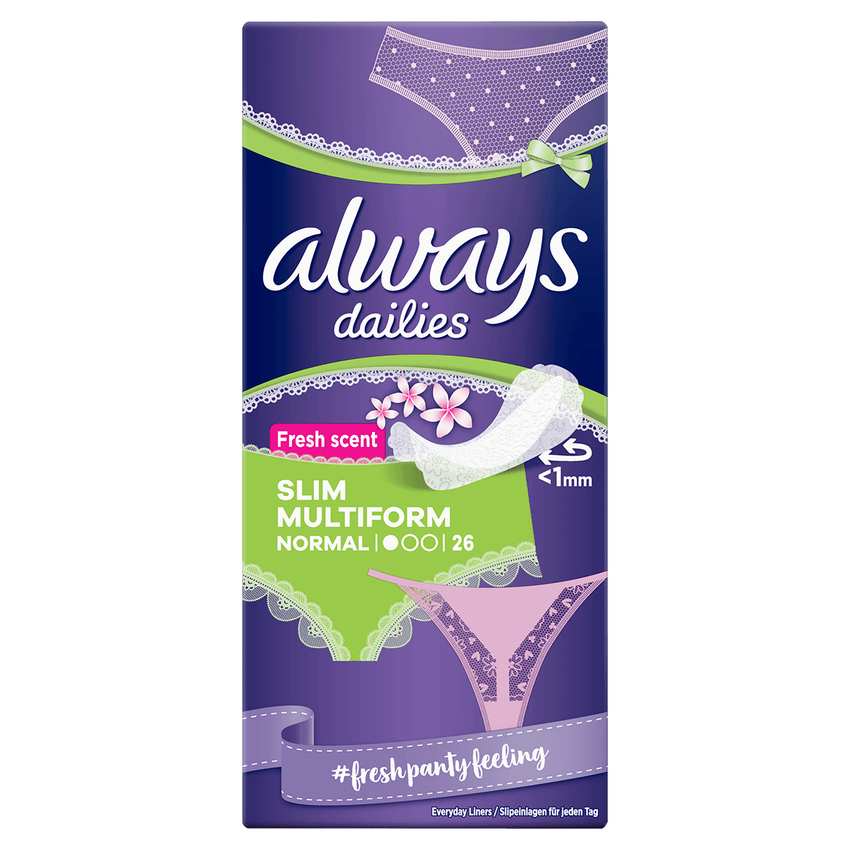ALWAYS DAILIES Slim Multiform Panty Liners Vaginal Discharge