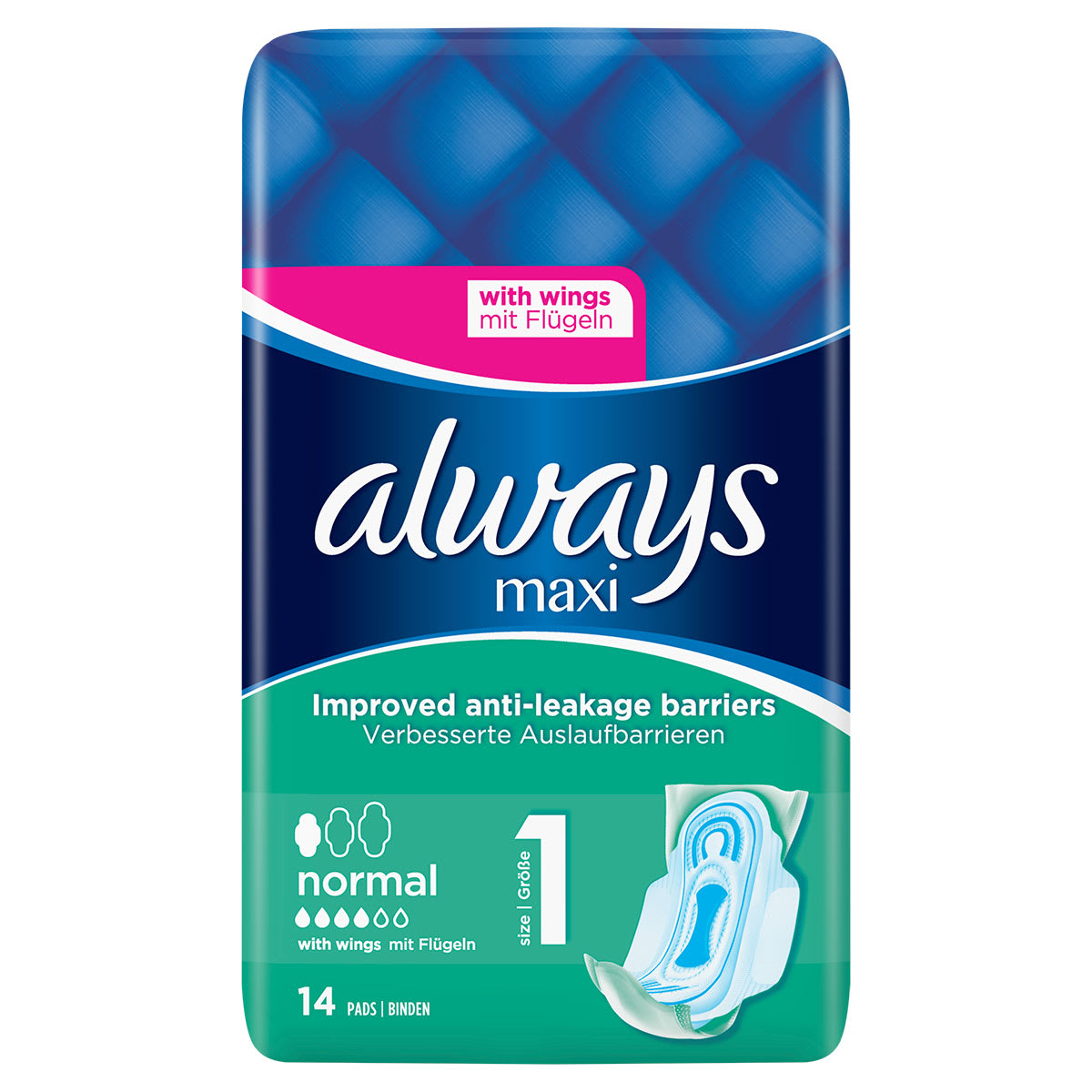 ALWAYS Maxi Normal Size 1 Sanitary Towels Wings 14 Pads