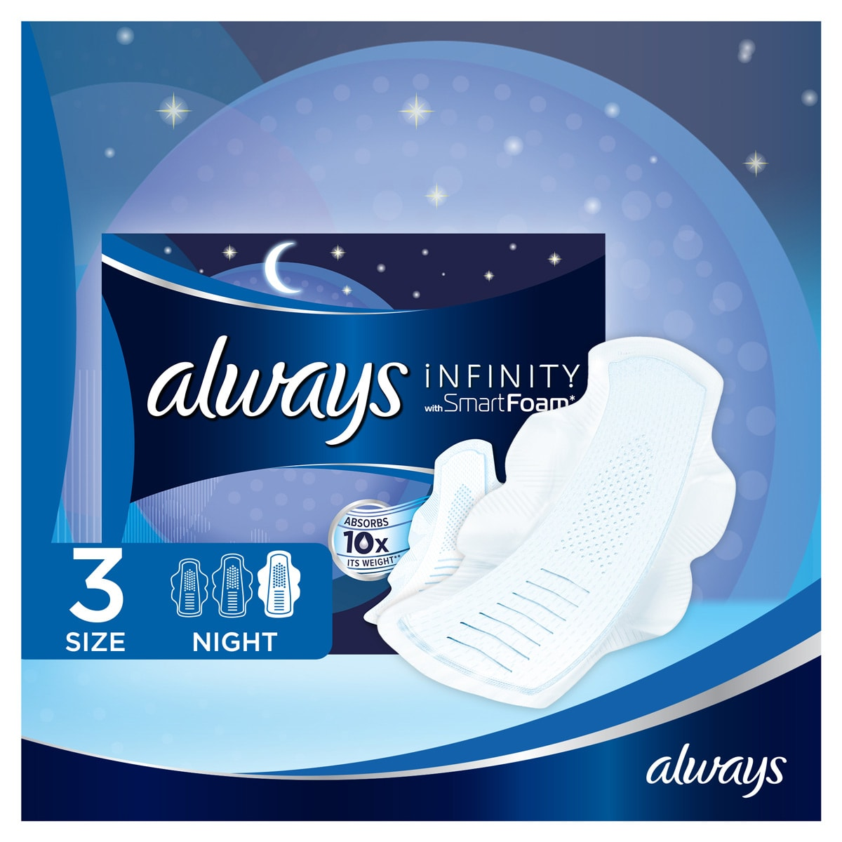 ALWAYS Infinity Night (Size 3) Sanitary Towels Wings 10 Pads