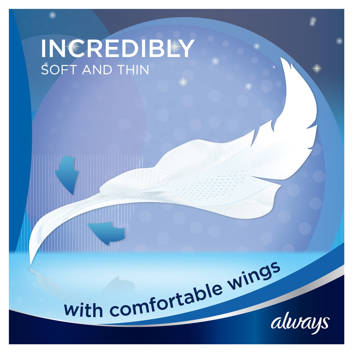 ALWAYS Infinity Night (Size 3) Wings Incredibly Soft and Thin
