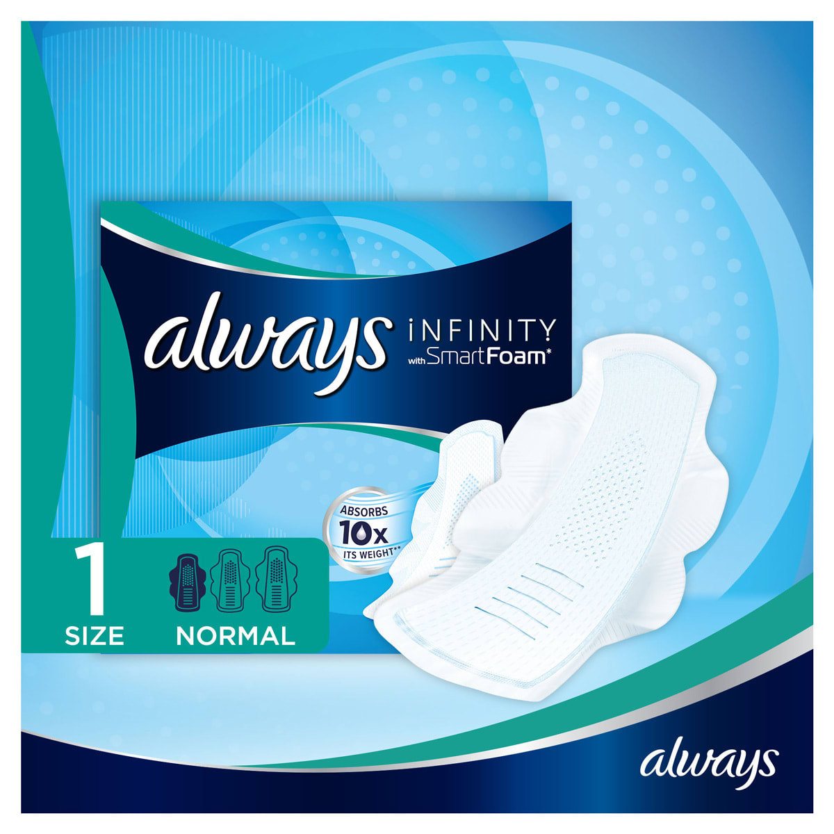 ALWAYS Infinity Normal (Size 1) Sanitary Towels Wings 12 Pads