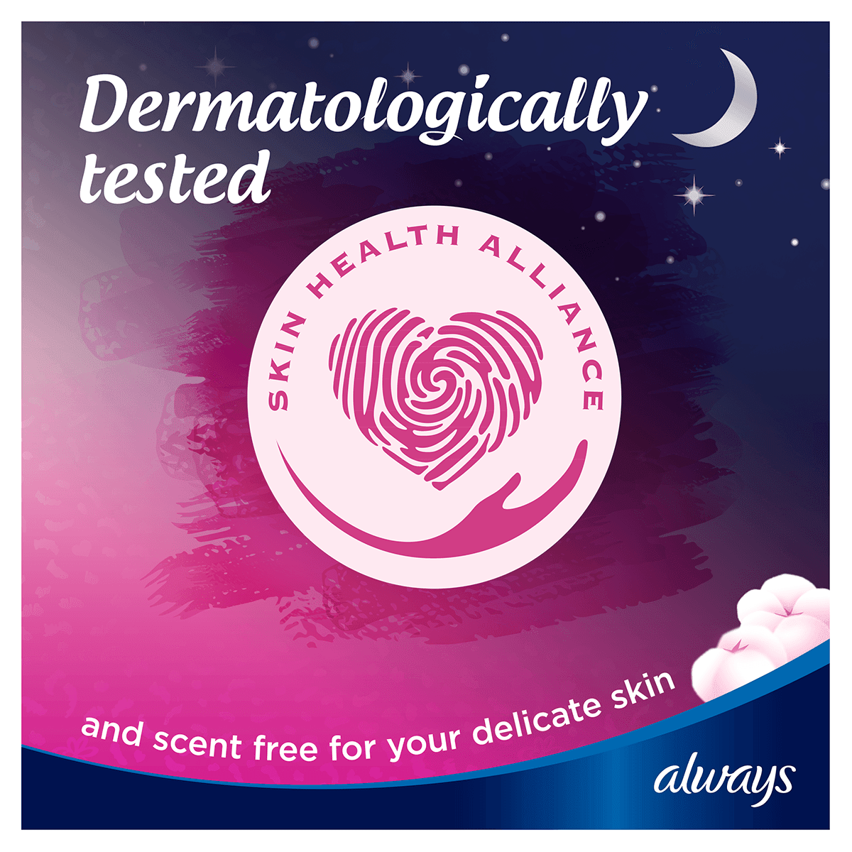 ALWAYS Sensitive Night Pads Dermatologically Tested