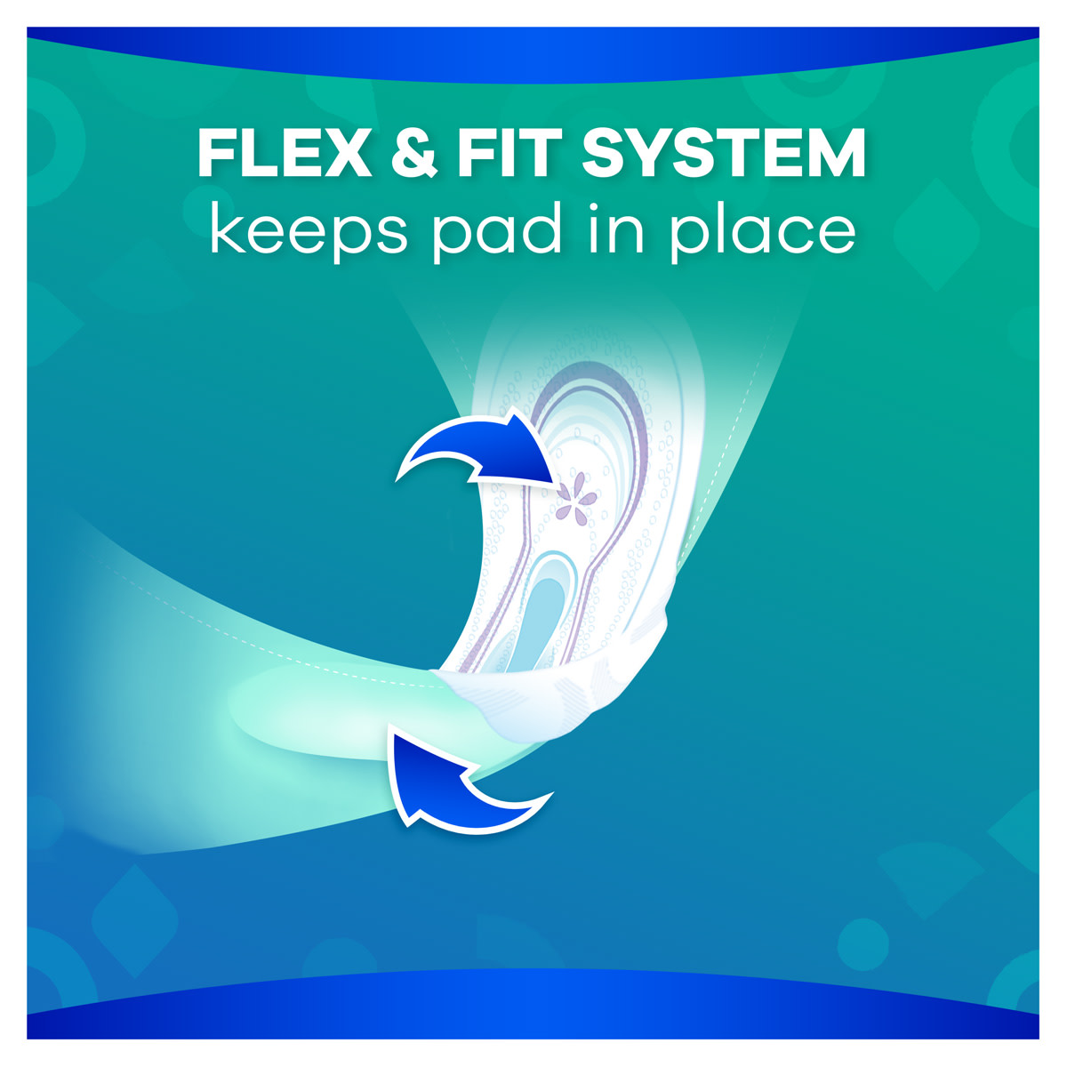 Flex & Fit system keeps pad in place