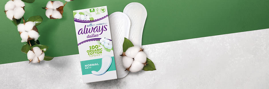Always Cotton Protection Liner pack with cotton flowers on a green and white background