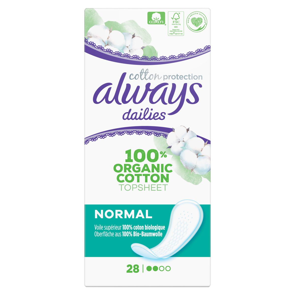 Always Cotton Protection Dailies, 100% Organic cotton core protection