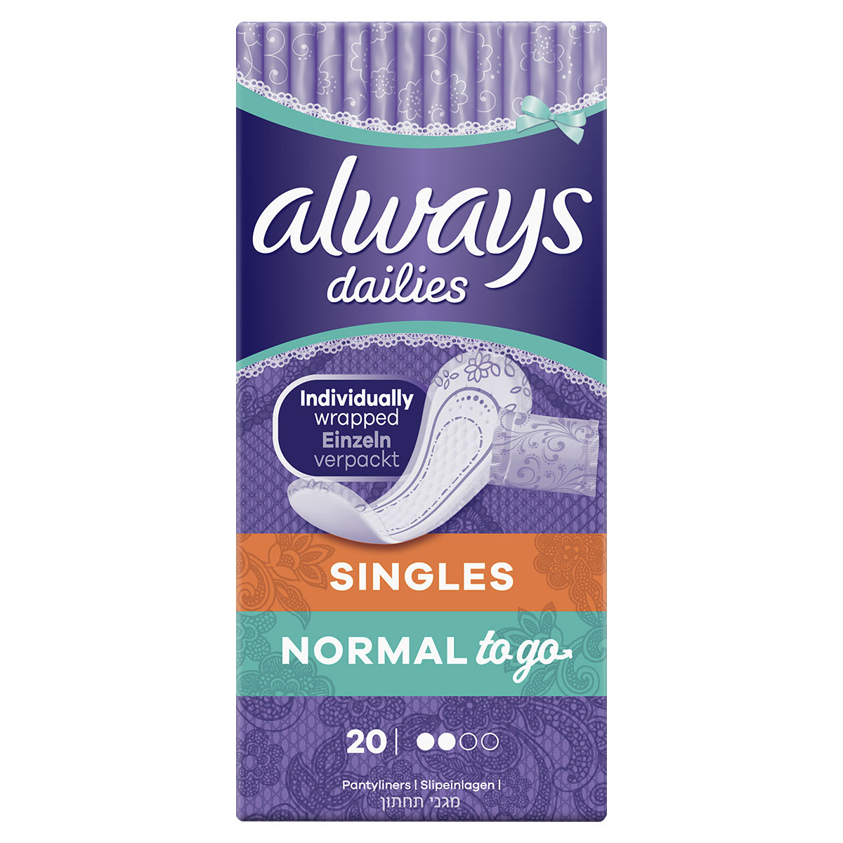 ALWAYS DAILIES Singles Normal To Go Panty Liners
