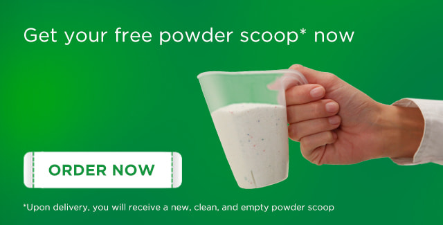 Order your free powder scoop now