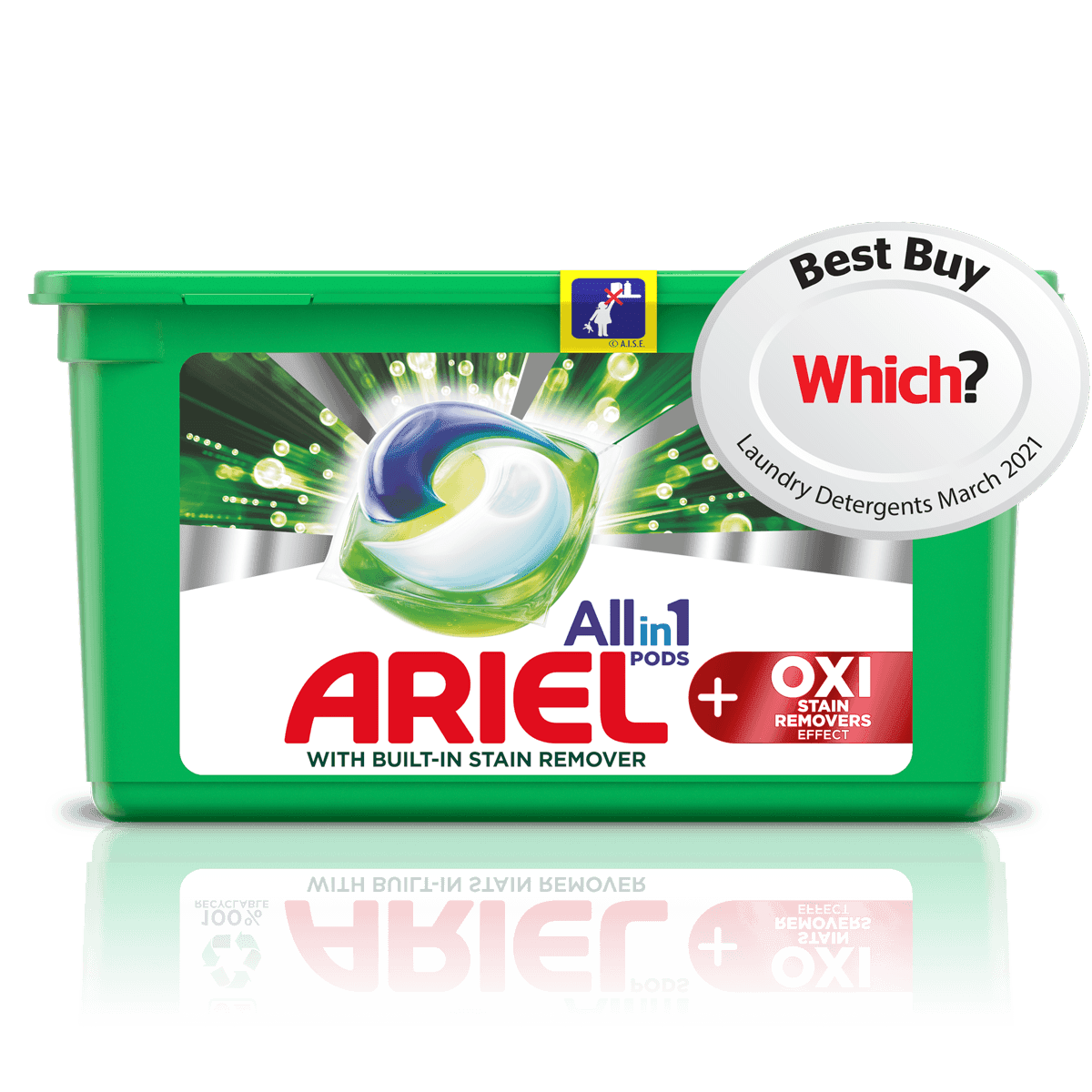 Ariel All-in-1 PODS +OXI Stain Removers Effect