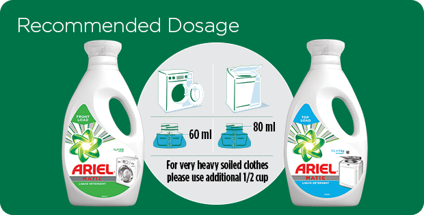 Recommended dosage from Ariel Matic liquid detergents according to washing machine type