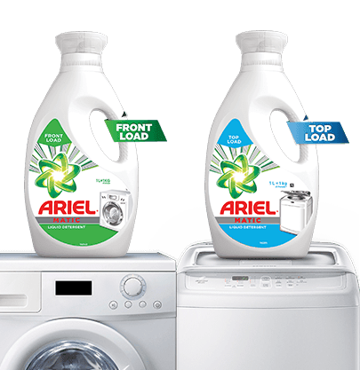 Ariel Front and Top Load Liquid Detergents on top of washing machines