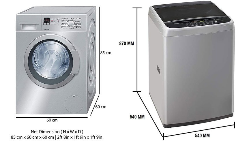 Guide To Washing Machine Types Dimensions And Sizes Ariel India