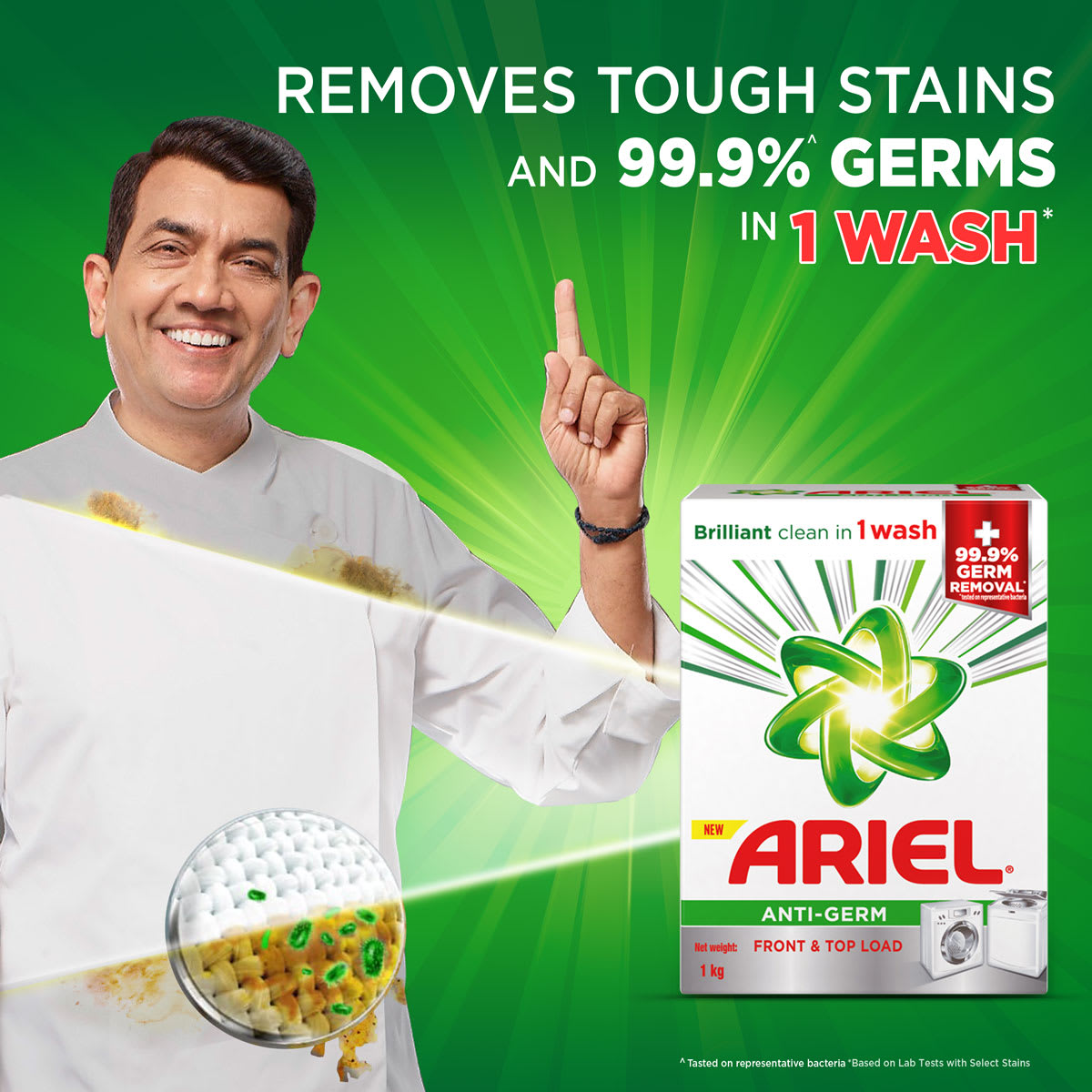 New Ariel Anti-Germ removes tough stains and 99.9% of germs in 1 wash