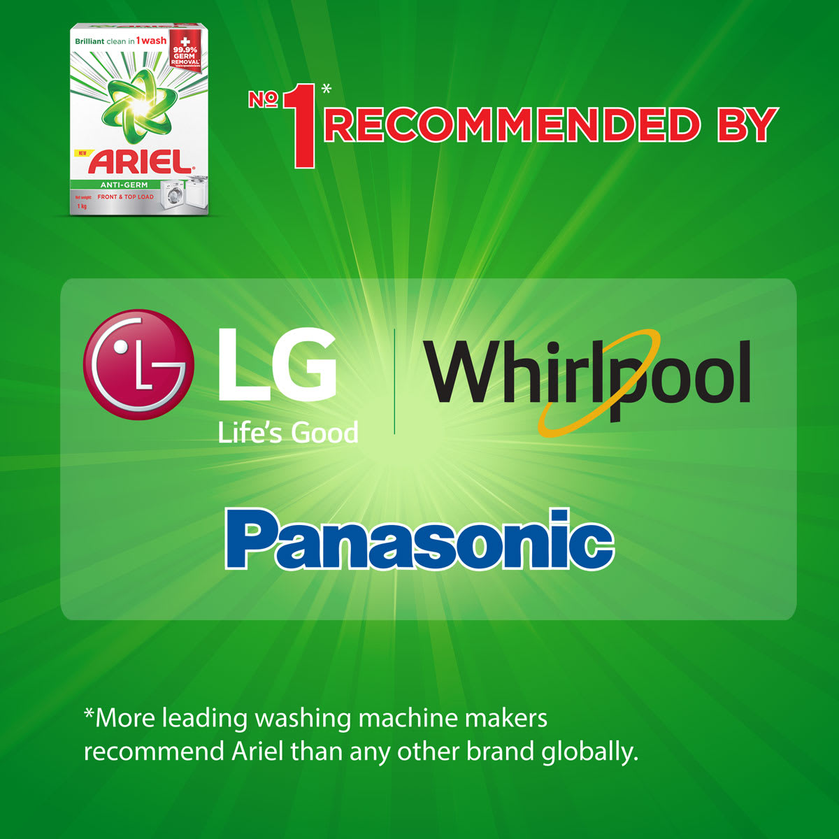Ariel is the no.1 brand recommended by leading washing machine makers such as LG, Panasonic and Whirlpool