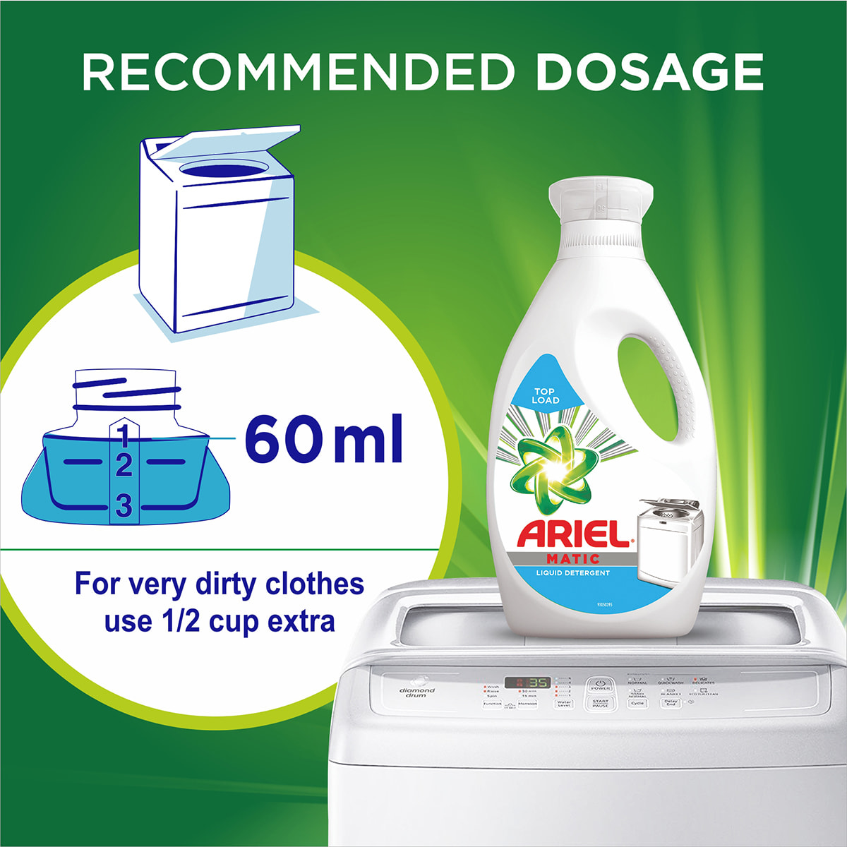60 ml from the Ariel Matic Top Loader Liquid is the recommended dosage, for very dirty clothes use 1/2 cup extra