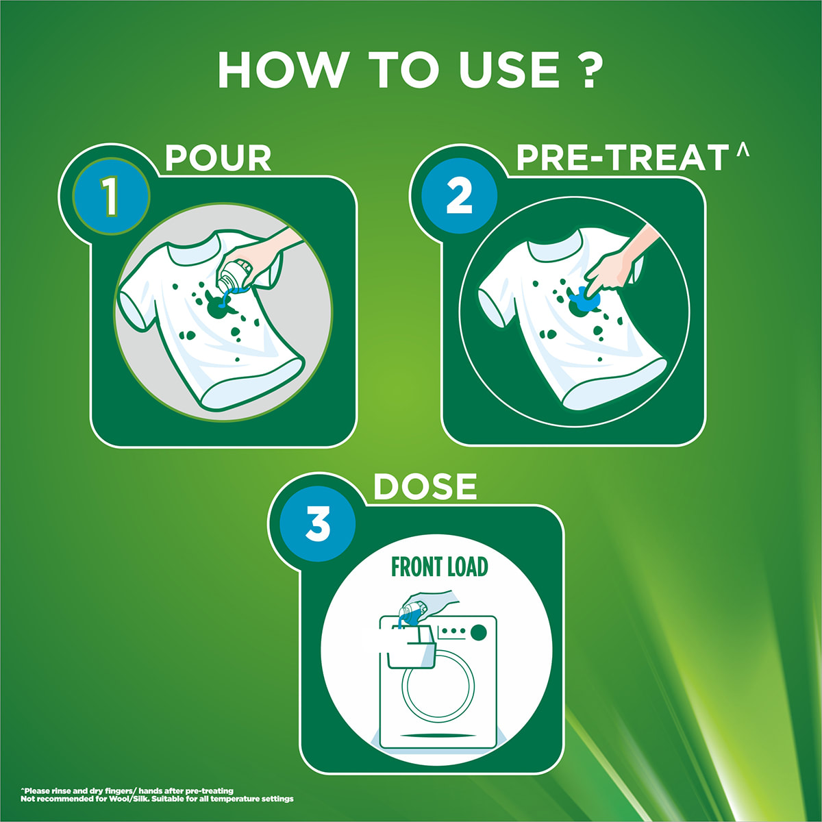 How to use it in 3 easy steps: 1) Pour, 2) Pre-treat and 3) Dose in your top loader