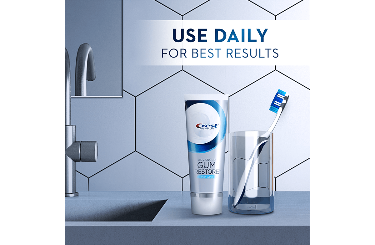 CREST PRO-HEALTH ADVANCED GUM RESTORE TOOTHPASTE USE DAILY