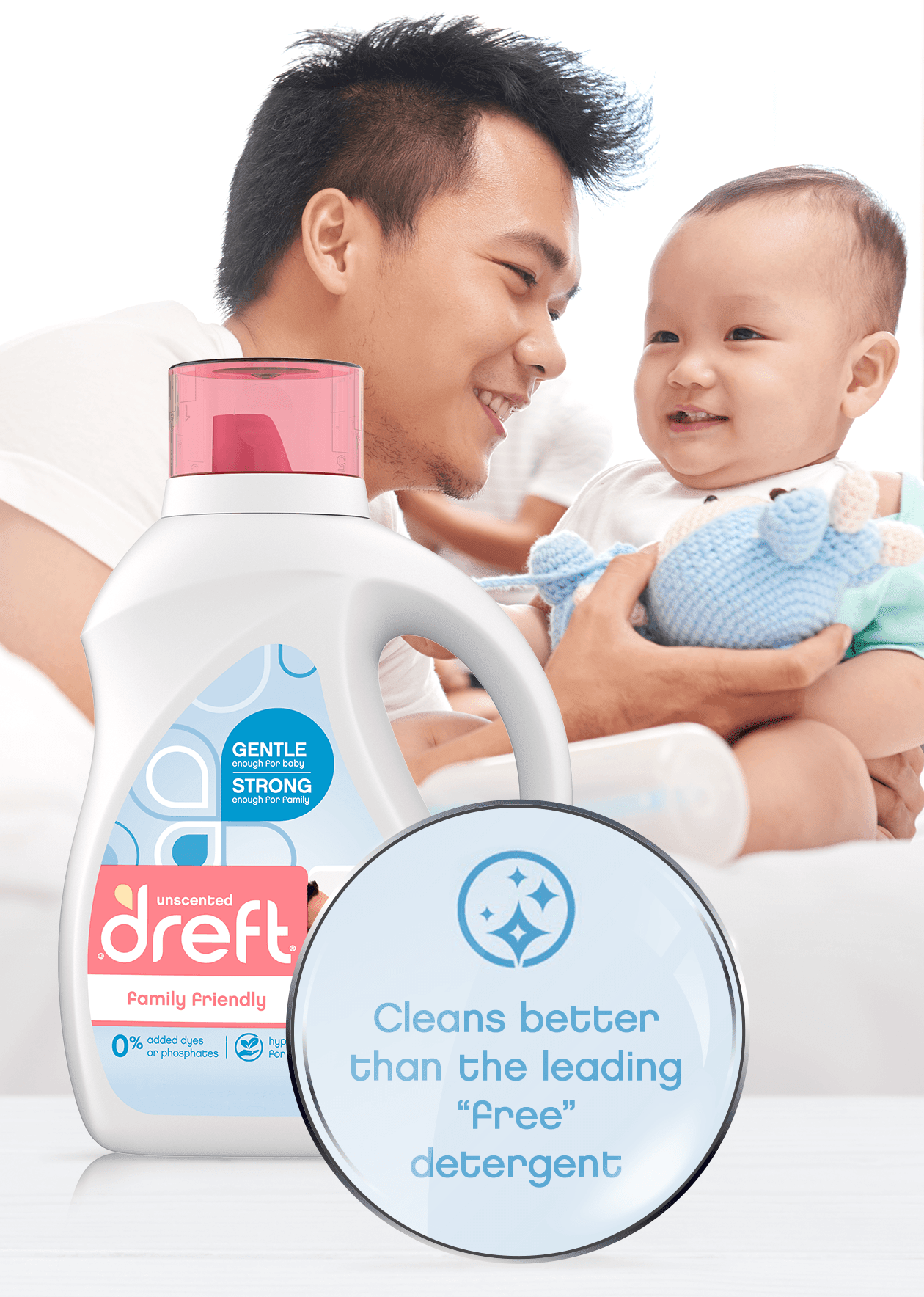 Dreft Family Friendly Laundry Detergent has even more cleaning power!