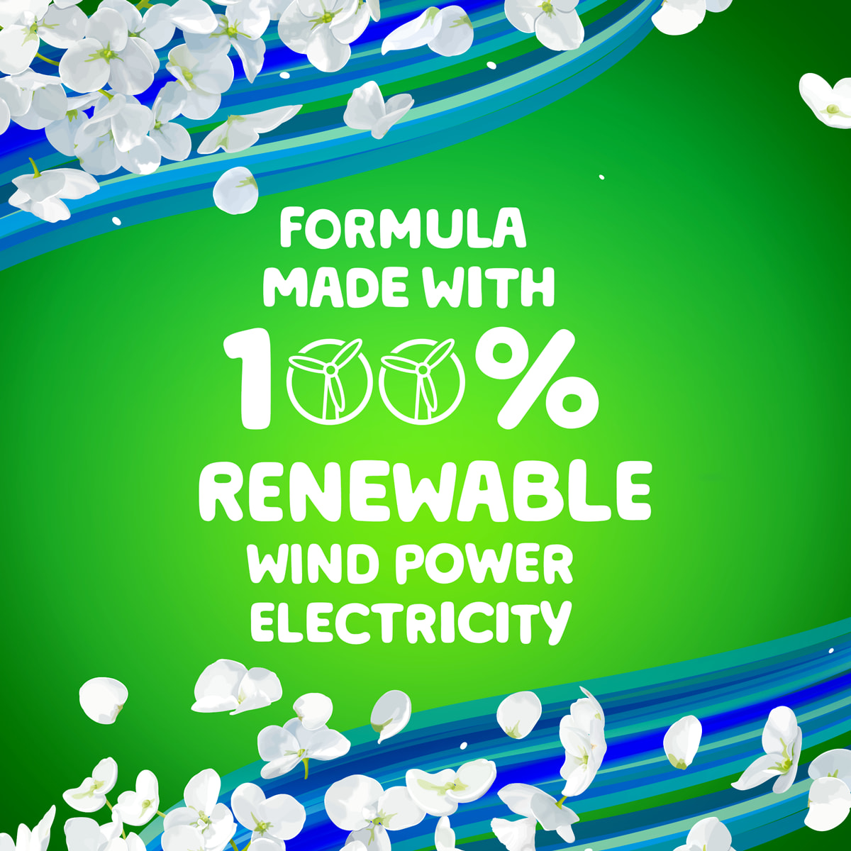 Gain Blissful Breeze product line formula is made with 100% renewable wind power electricity