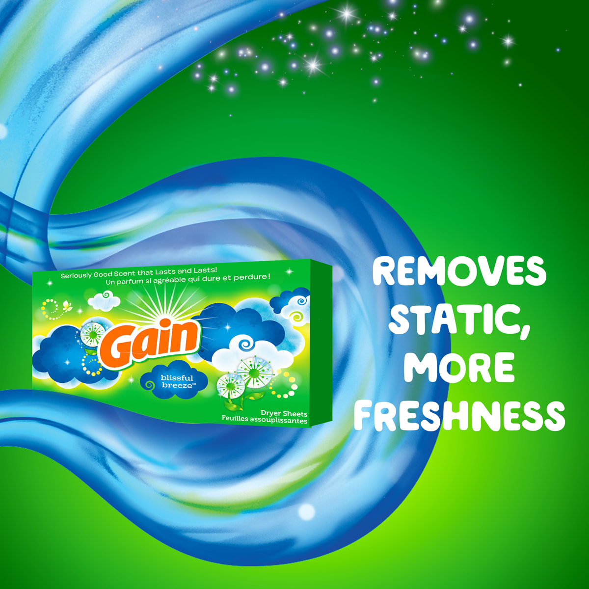 Gain Blissful Breeze Dryer Sheets removes static and provides more freshness