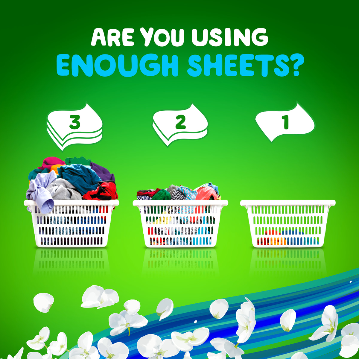 Are you using enough dryer sheets? Usage instructions for Blissful Breeze Dryer Sheets: large basket of fabrics - 3 sheets; average basket of fabrics - 2 sheets; small basket of fabrics - 1 sheet