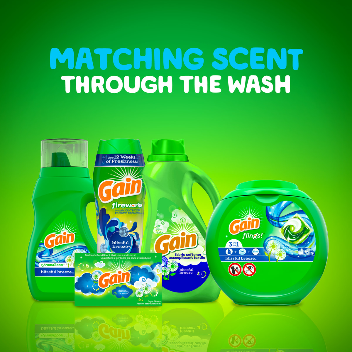 Gain Blissful Breeze products match scent throughout the wash