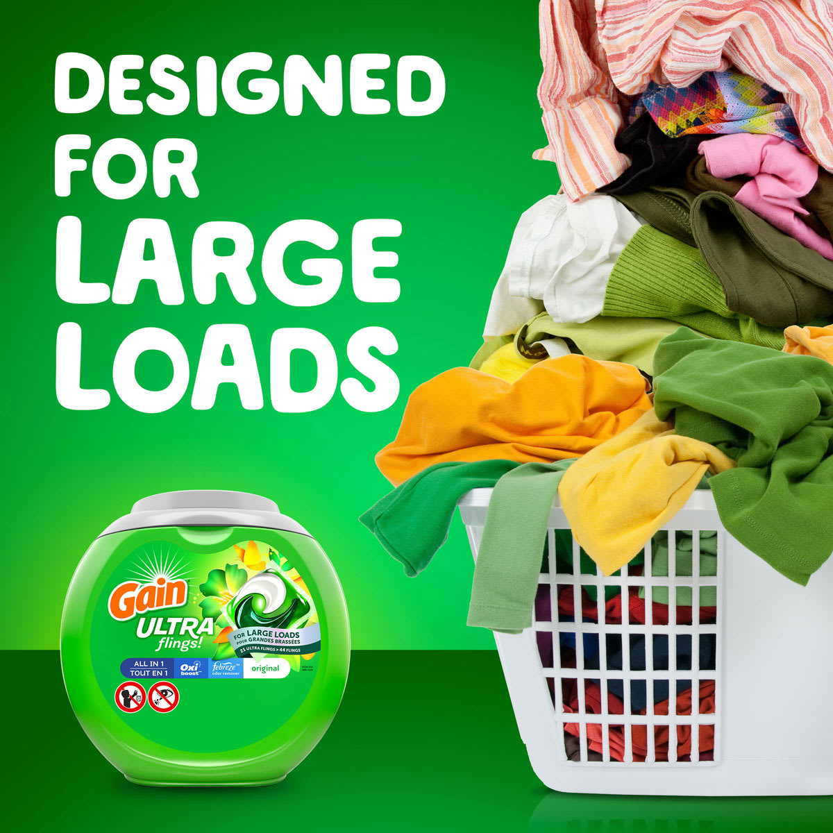 Gain Ultra Flings Laundry Pacs are designed for large loads
