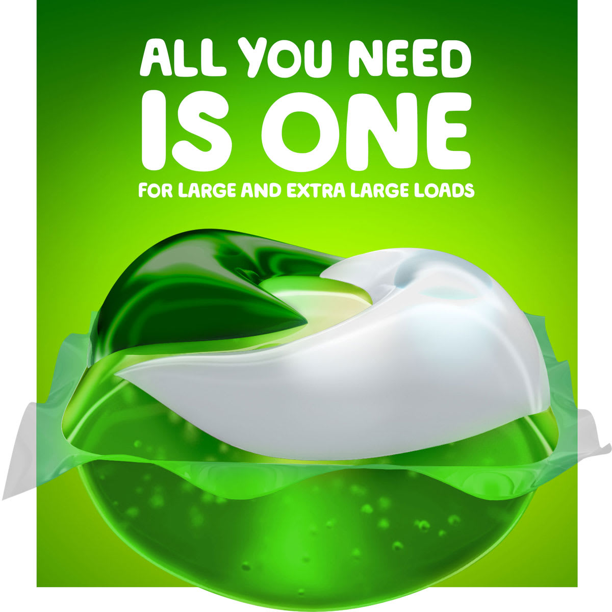All you need is one Gain Ultra Laundry Pac for large and extra large loads