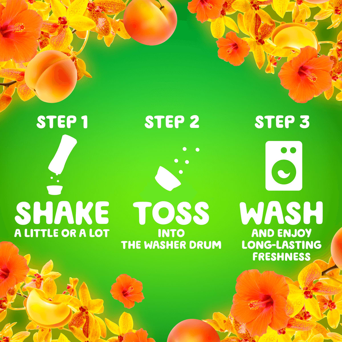 Using directions for the Gain Island Fresh Firework In-Wash Scent Booster: step 1, shake, step 2, toss into the washer drum, step 3, wash the clothes