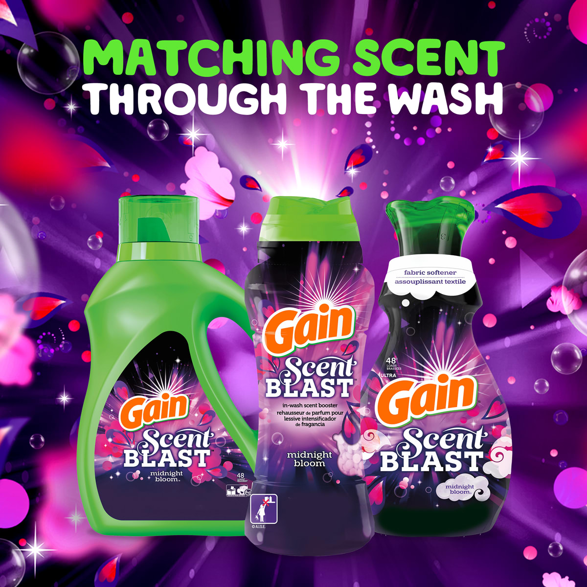 Gain Midnight Bloom product line matches scents throughout the wash