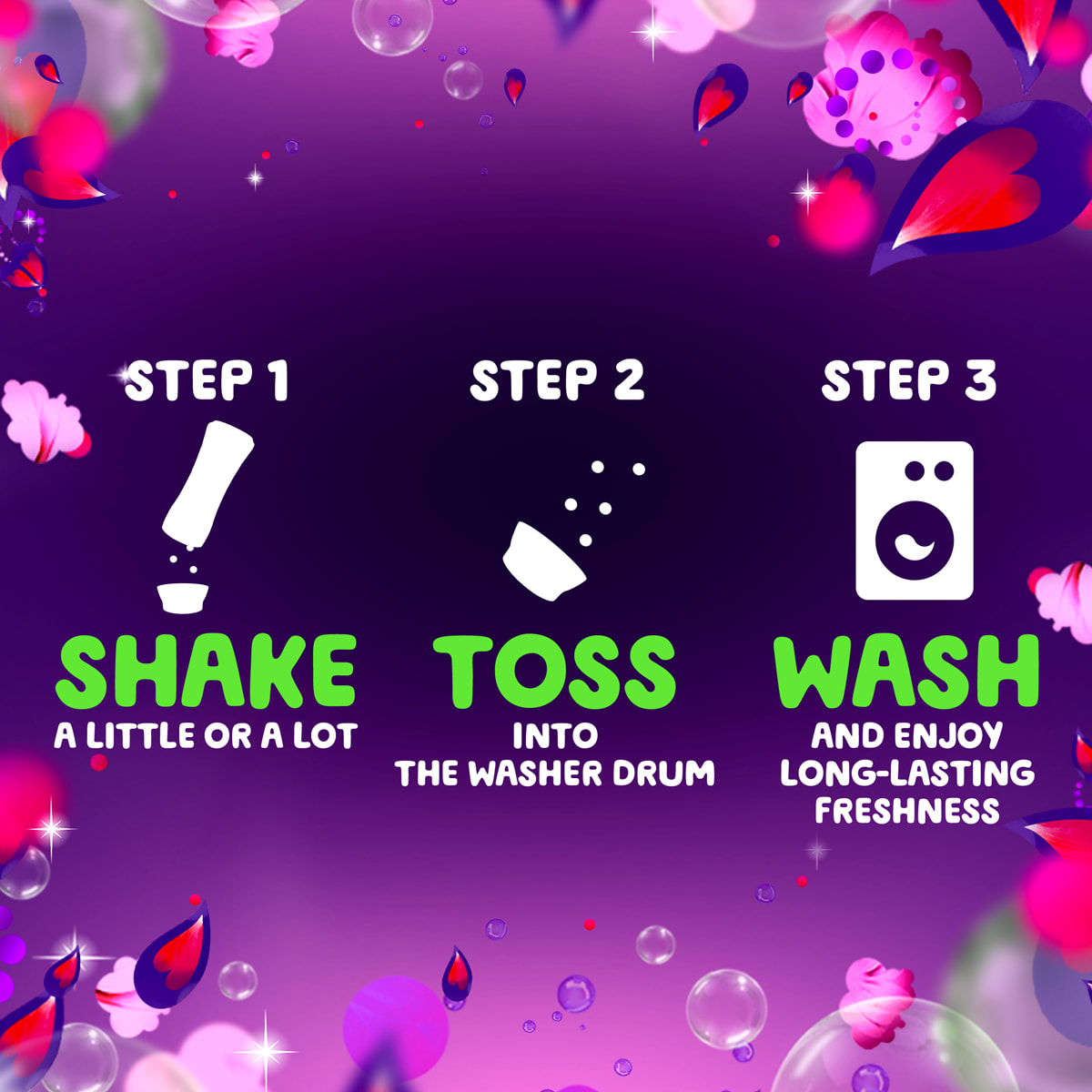 Usage instructions for the Gain Midnight Bloom Fireworks Scent Booster: step 1, shake, step 2, toss into the washer drum, step 3, wash the clothes