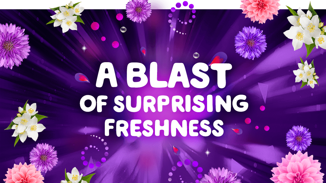 Gain Flings Scent Blast Midnight Bloom Laundry Detergent Pacs give you a blast of surprising freshness.