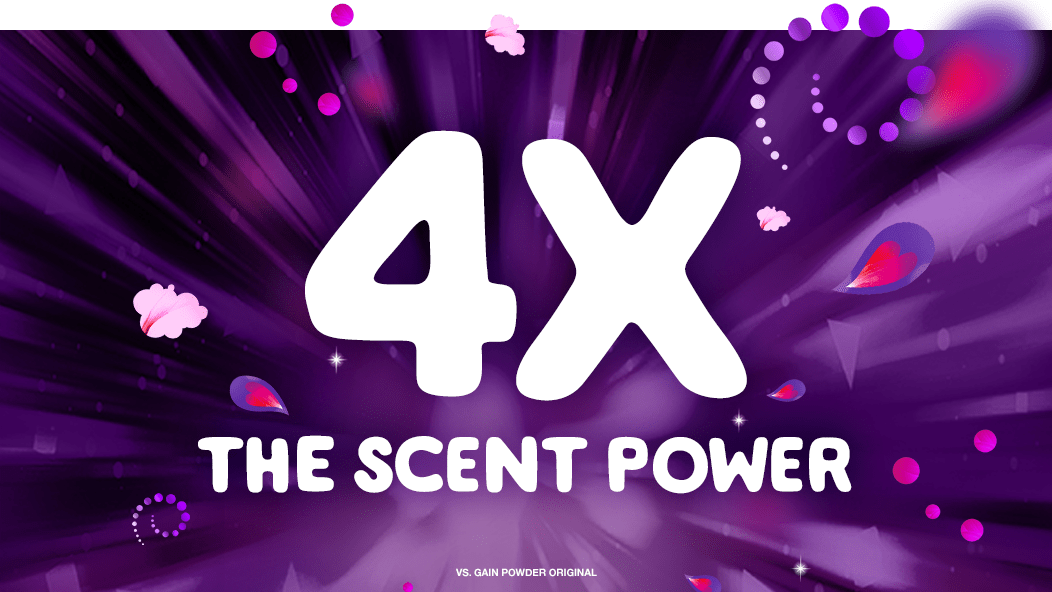 Gain Flings Scent Blast Midnight Bloom Laundry Detergent Pacs contain 4x the scent power* *vs. Gain Flings Original