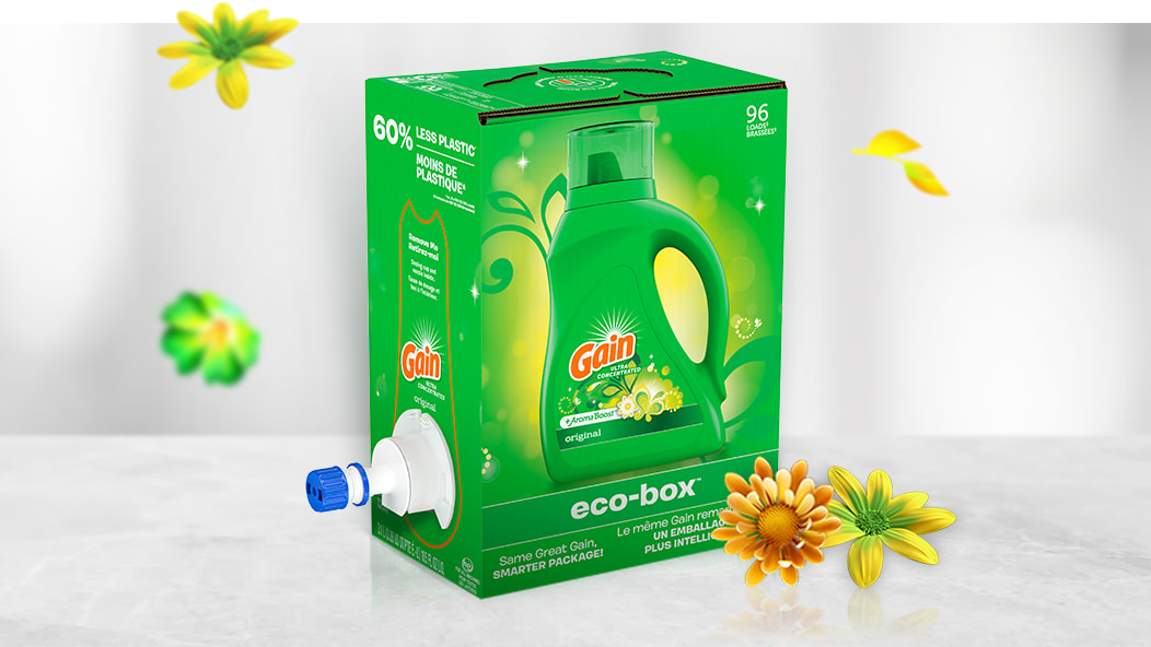 Gain Original Eco-Box Liquid Laundry Detergent, new package, more freshness